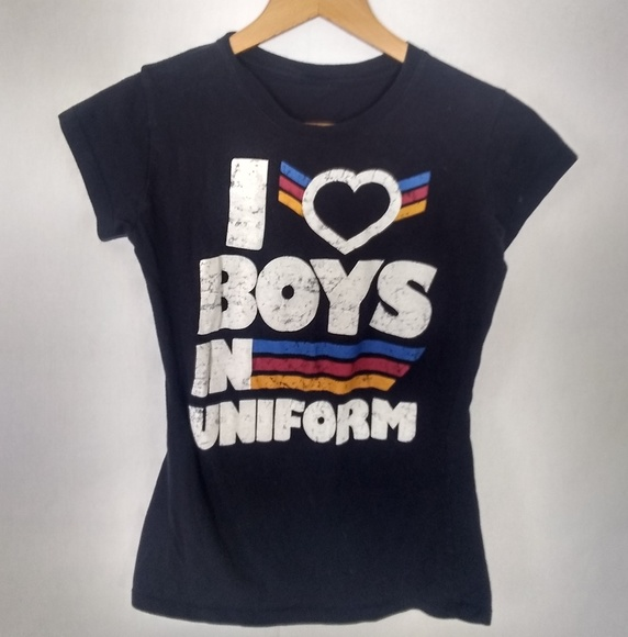576520a71 None Tops | I Love Boys In Uniform Military Graphic Tee Tshirt ...
